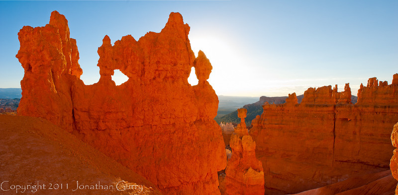 1084 - Hoodoos and the famous Thors Hammer Hoodoo to the center of the image at Sunrise.  Bryce Canyon National Park, Utah.
