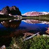 1043 - The Red Castle reflected in Lower Red Castle Lake.  Uinta Mountains, Utah.