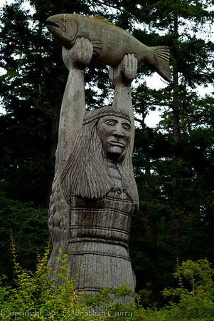 1146 - Native Totems in honor of the plentiful fishing.  Deception Pass, Washington.