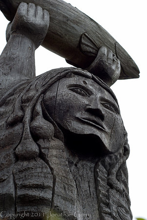1148 - Native Totem monuments in honor of the plentiful fishing.  Deception Pass, Washington.