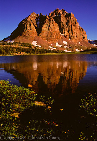 1012 - The Red Castle reflected in Lower Red Castle Lake, Uinta Mountains, Utah.