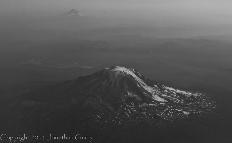 1257 - Mt. Hood from the air, Mt. Jefferson in the distance. Oregon.