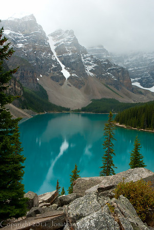 1270 - Saint Mary Lake in the Valley of the 10 Peaks.  Banff National Park, Alberta, Canada.