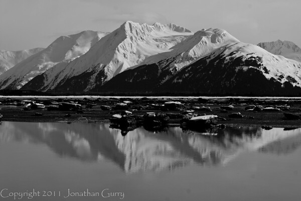 1312 - Chugach Mountains reflected  in the Turnagain Arm.  Alaska.