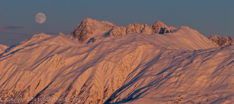 1297 - Moonrise in winter over the Alaska Range, Alaska.