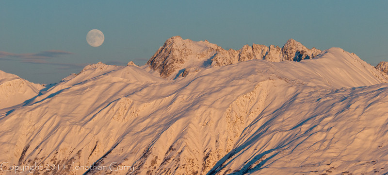 1296 - Moonrise in winter over the Alaska Range, Alaska.