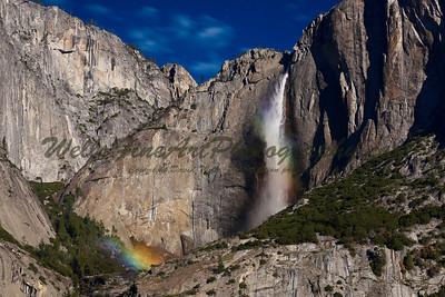 Rainbows in  Mist, Upper Yosemite Falls
