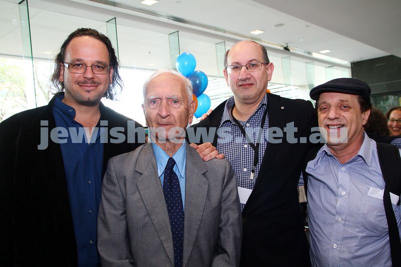 8-6-14. Limmud Oz 2014. From left: Ghil'ad Zuckerman, Uncle Boydie Alf Yurner, Jeremy Jones, Aubrey Schwarz. Photo: Peter Haskin