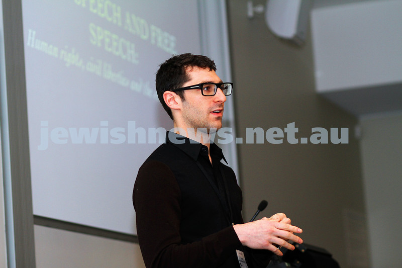 "8-6-14. Limmud Oz 2014. ""Hate speech and free speech: human rights, civil liberties and the 18c debate""  Daniel Meyerowitz-Katz.. Photo: Peter Haskin"