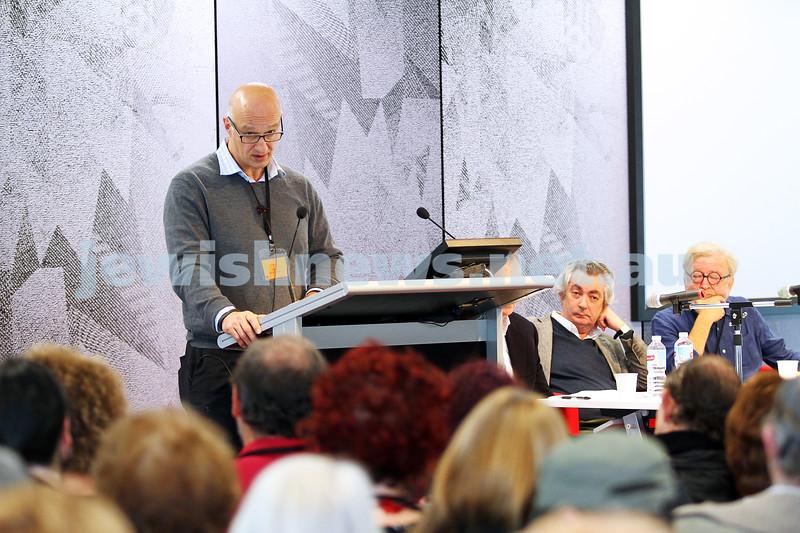 "8-6-14. Limmud Oz 2014. ""Asylum seekers: facts, politics and ethics"" . Paris Aristotle. Photo: Peter Haskin"