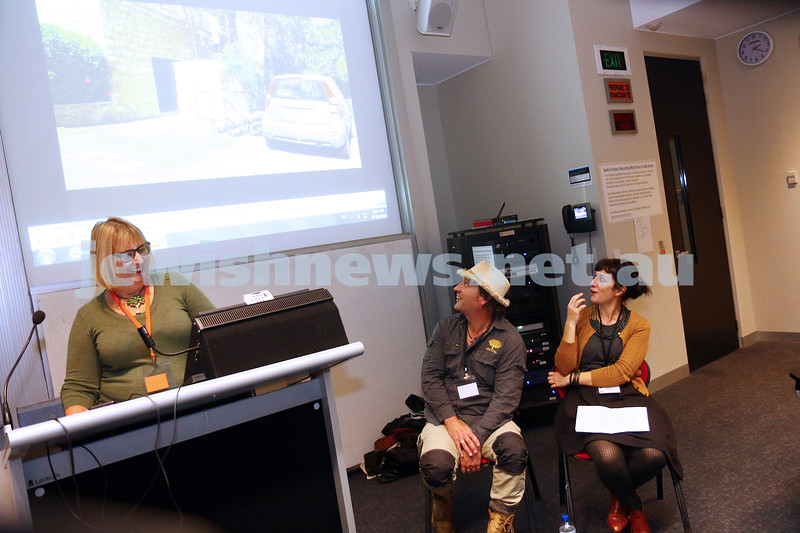 27-6-16. Limmud Oz. Melbourne 2016. Marlo Newton with Trevor Seppings, Natalie Simmons. Nat and Trev do Jerusalem. Photo: Peter Haskin