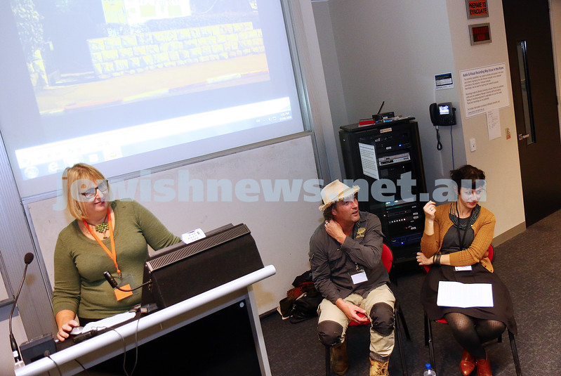 27-6-16. Limmud Oz. Melbourne 2016. Marlo Newton with Trevor Seppings, Natalie Simmons. Nat and Trev do Jerusalem. Photo: Peter Haskin
