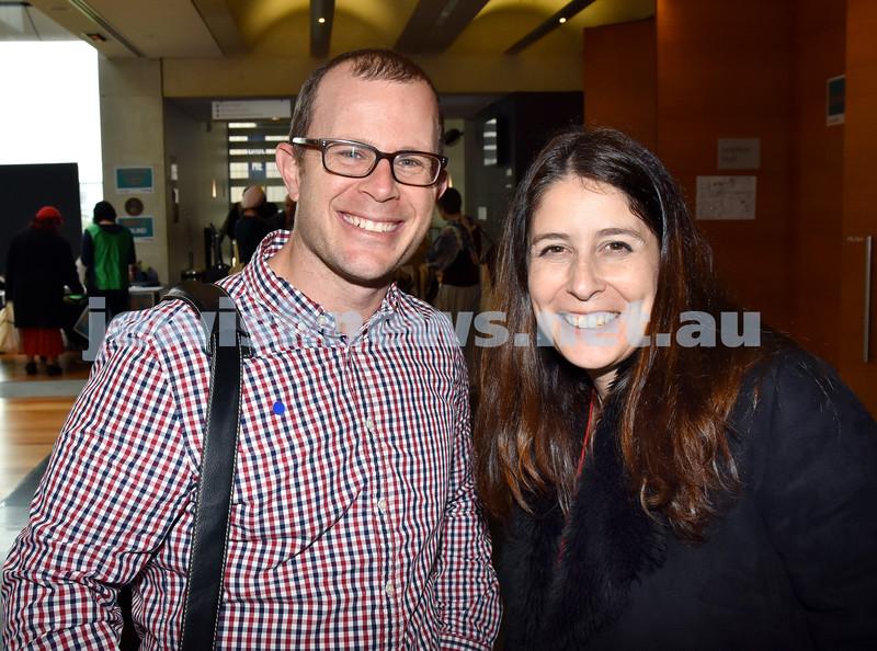Limmud Oz 2017. Rabbi Gad Krebs (left), Tamara Samuel. Pic Noel Kessel
