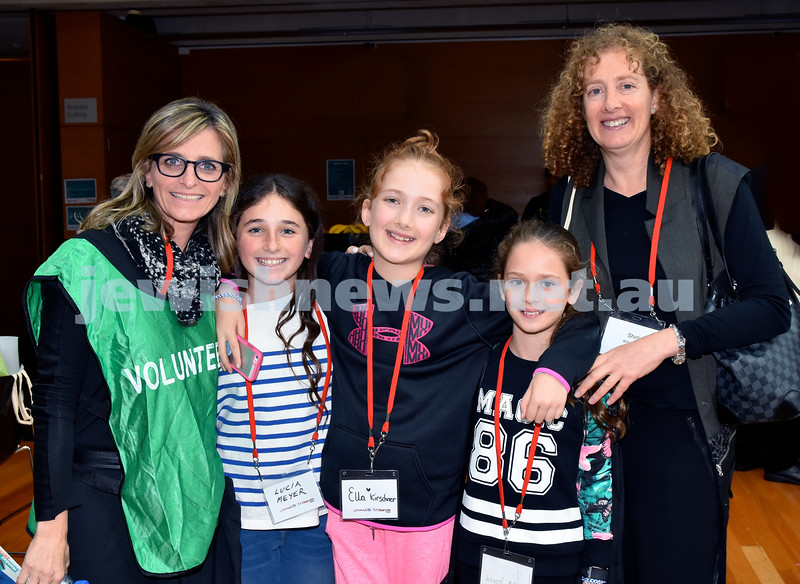 Limmud Oz 2017. From left: Deb Meyer, Lucia Meyer, Ella Kirschner, Lilia Joseph, Shirli Kirschner. Pic Noel Kessel