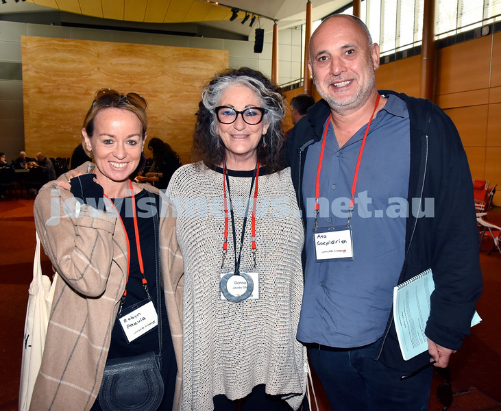 Limmud Oz 2017. From left: Robyn Pakula, Donna Jacobs Sife, Ata Gokyildirim. Pic Noel Kessel