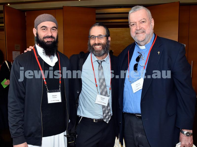 Limmud Oz 2017. From left: Wesam Charkawi, Rabbi Zalman Kastel, Rev.Patrick McInerney. Pic Noel Kessel