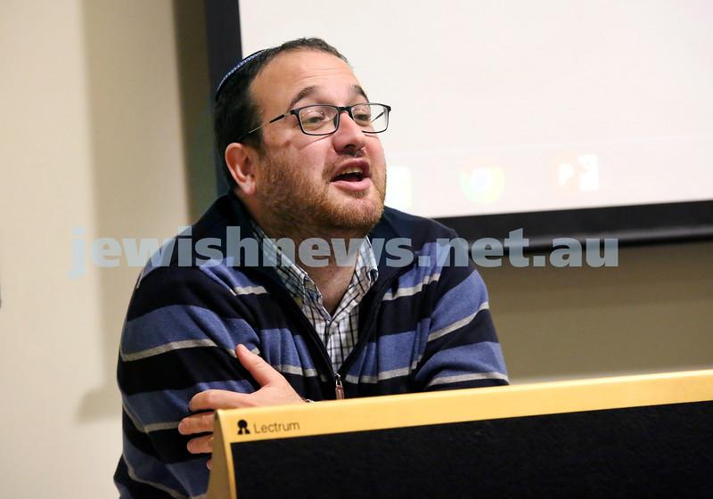Limmud Oz 2017. Rabbi Shua Solomon. Pic Noel Kessel