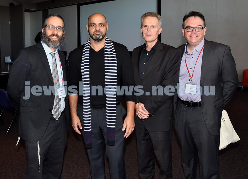 Limmud Oz 2017. Rabbi Zalman Kastel, Sam Halbouni, Phil Roberts, Robert Patruno. Pic Noel Kessel