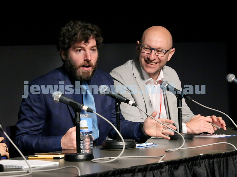 Limmud Oz 2017. Cnaan Liphshiz (left) and Arsen Ostrovsky during a panel discussion on Jews in Europe. Pic Noel Kessel