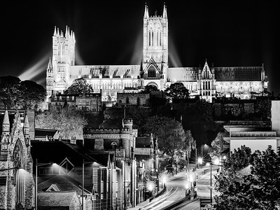 Lincoln cathedral goes blue in black and white