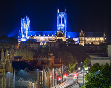 Lincoln Cathedral at night - blue led light