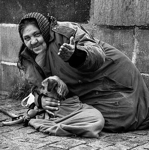 A lady and her dog