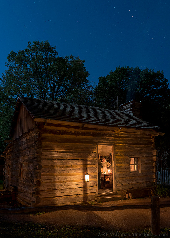 New Salem Cabin at Night