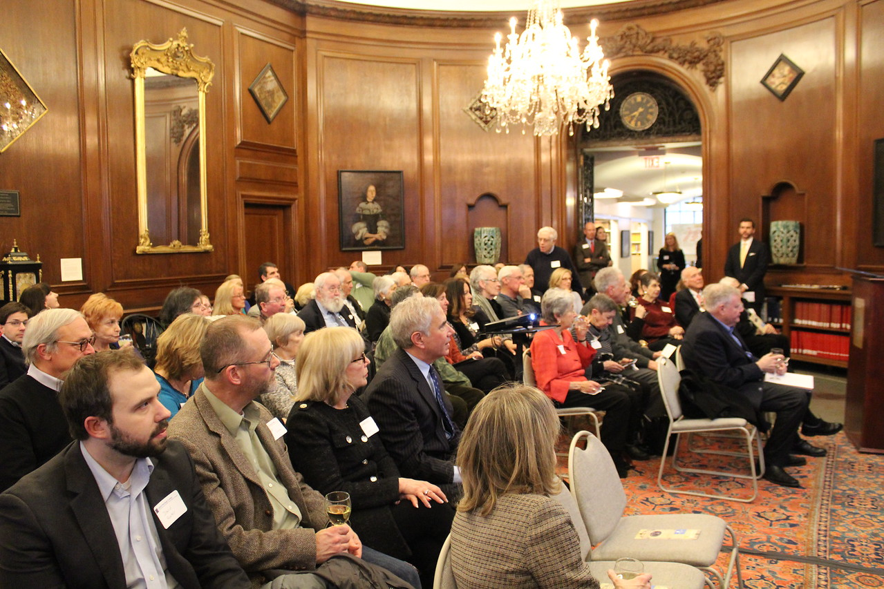 Guests gather at the New England Historic Genealogical Society for the launch of the Jewish Heritage Center and to hear Professor Jonathan Sarna speak about his book, Lincoln and the Jews