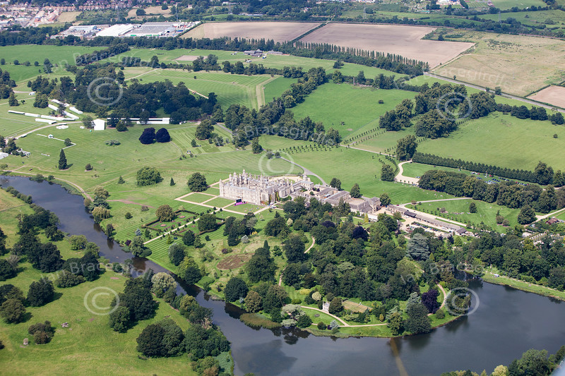 Aerial photograph of Burghley House.