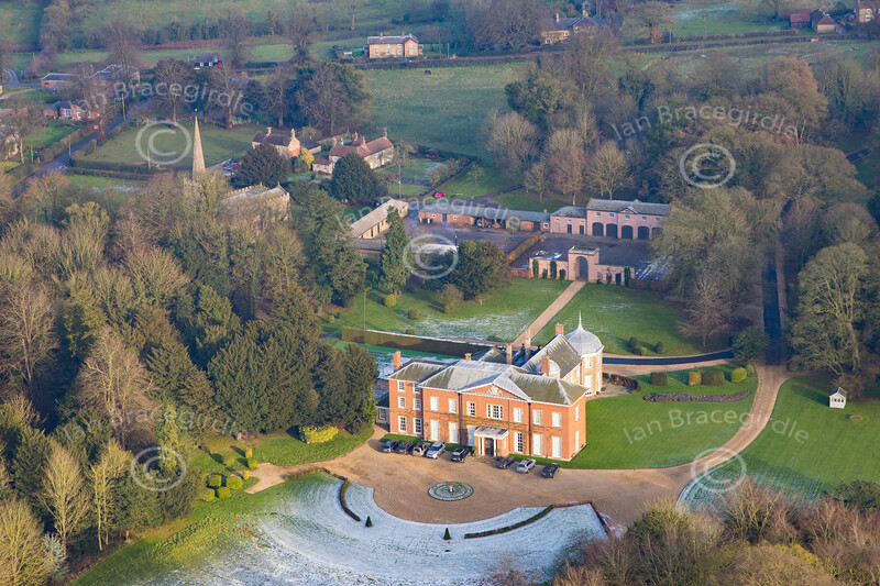 Aerial photo of Hainton Hall.