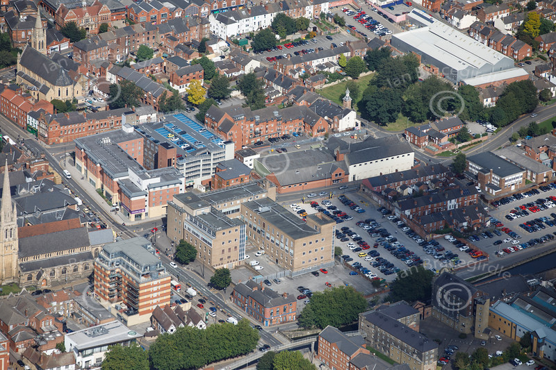 Aerial photo of The Telephone Exchange.