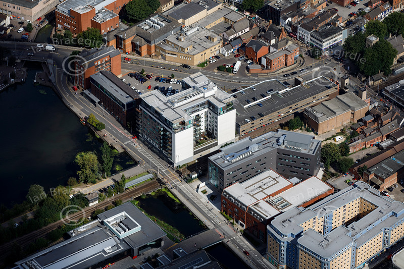 Aerial photo of Brayford Wharf East.