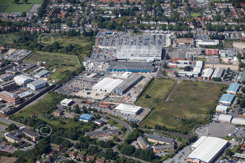 Aerial photo of Deacon Road Industrial Estate.