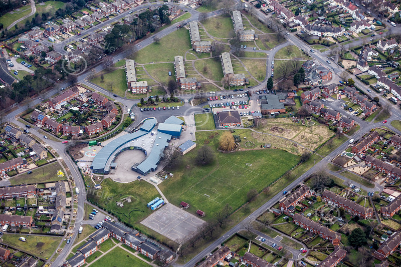 Hartsholme Primary School in Lincoln from the air.