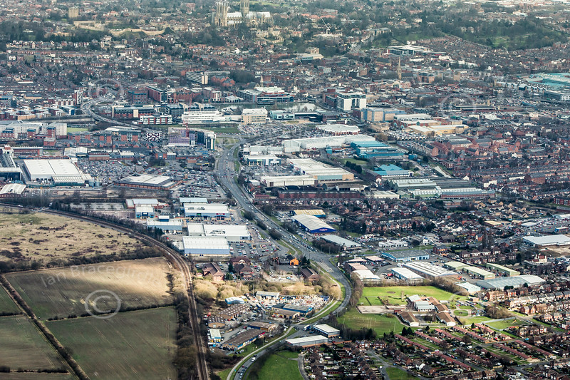 Tritton Road in Lincoln from the air.