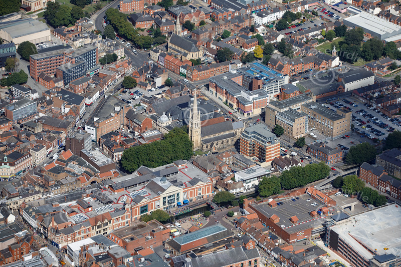 Aerial photo of St Swithin's Church.