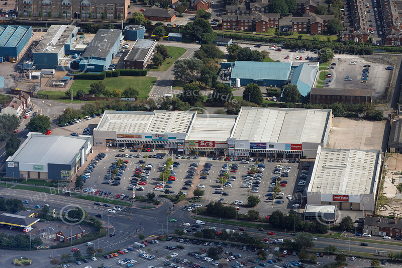 Aerial photo of Tritton Road Retail Park.