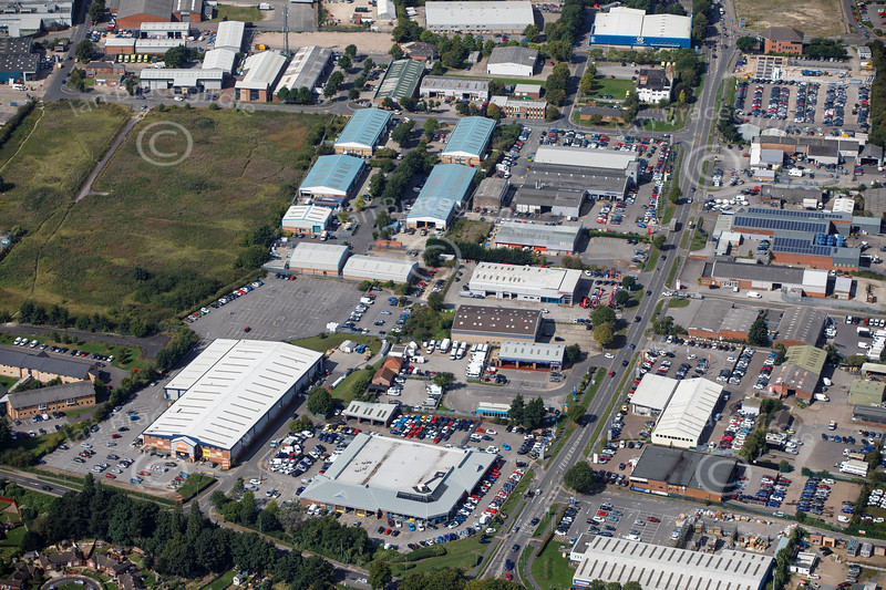 Aerial photo of Outer Circle Road Industrial Estate.