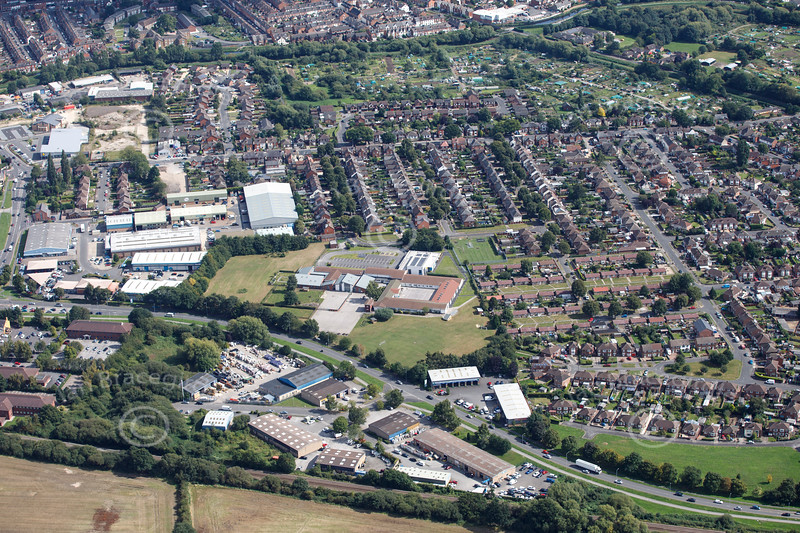 Aerial photo of Boultham Park.