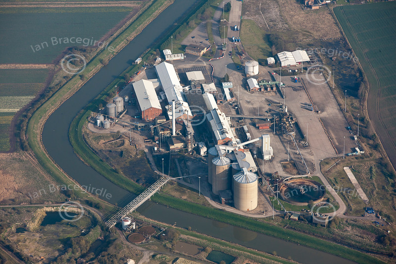 An aerial photo Bardney suger factory in Lincolnshire.