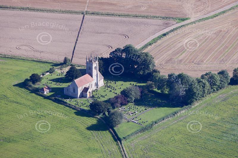 An aerial photo of St. Andrews church, Billingborough, Lincolnshire.