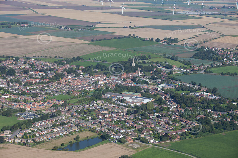 An aerial photo of Donington in Lincolnshire.