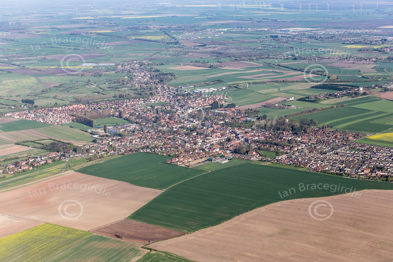 An aerial photo of Epworth in Lincolnshire.