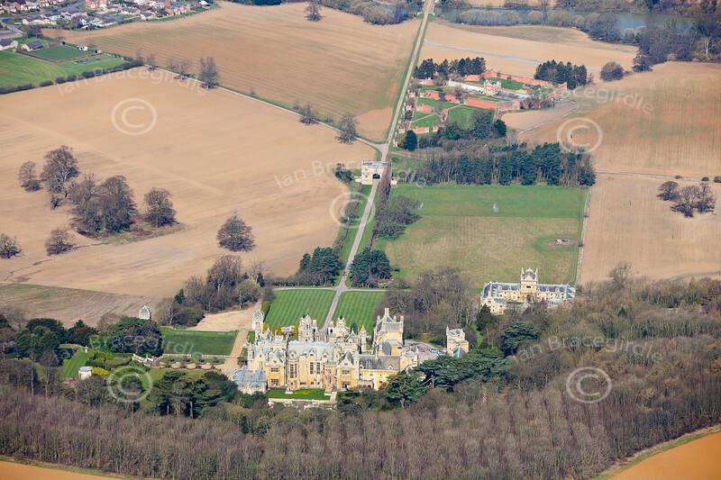 Aerial photo of Harlaxton Manor.