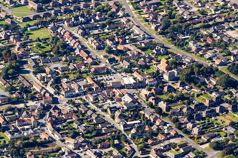 Aerial photo of Metheringham village in Lincolnshire.