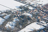 An aerial photo of Navenby in Lincolnshire seen in the snow.