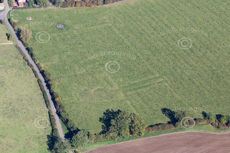 Aerial photo of earthworks in Sapperton in Lincolnshire.