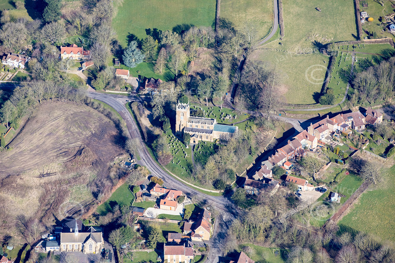 Aerial photos of All Saints Church in Tealby, Lincolnshire.