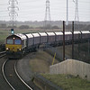 66106 works round the curve at Althorpe with 4xxx Worksop - Immingham HTA empties on 27th Dec