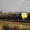 66953 approaches Hillam Gates with a late running 6G19 Redcar - Drax PS coal on 27th Dec